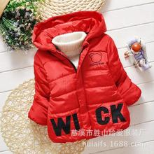 2016 New Baby Boys Jacket Kids Winter Cartoon Letter Pattern Cotton Warm Coat Children Lovely Outerwear Clothes