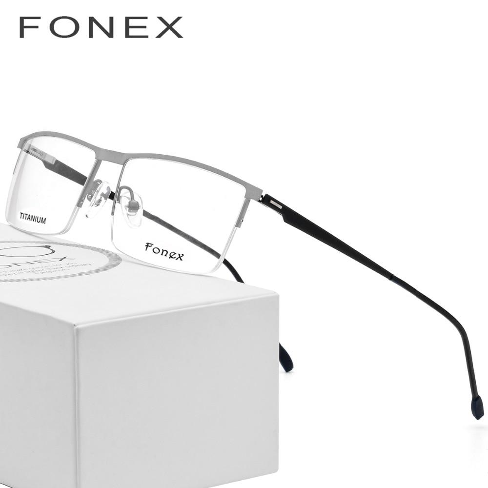 Homens Ultraleves de titânio Óculos Ópticos Quadro Prescrição Praça Óculos  New Masculino Semi-Sem Aro d8c0fa3aa6