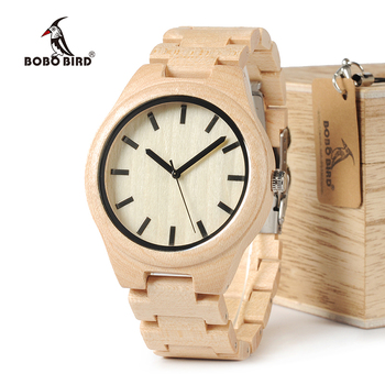 BOBO BIRD Top Brand Watch Men Wooden Timepieces Maple Wood Japan Movement Quartz Watches Wood Gift Box Accept Logo Drop Shipping Network Switches