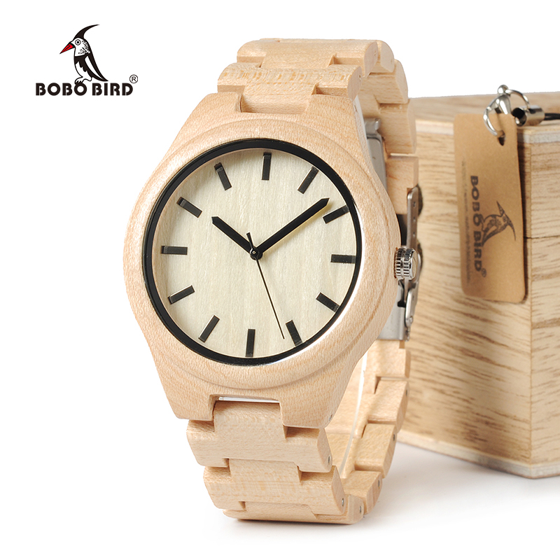 BOBO BIRD WG30 Top Brand Designer Watch Men Full Pine Wooden Watches Maple Wood Japan Movement Quartz Watches Wood Gift Box bobo bird brand new wood sunglasses with wood box polarized for men and women beech wooden sun glasses cool oculos 2017