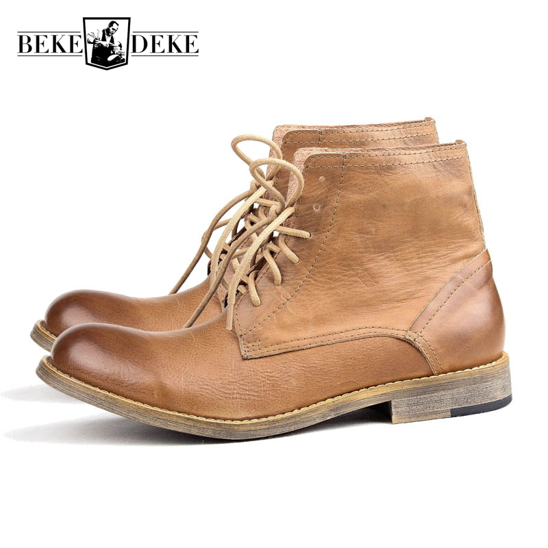 High Quality Brand Retro Punk Style Winter New Fashion Low Heel Genuine Leather Block Lace Up Ankle Boots Male Matin Shoes High Quality Brand Retro Punk Style Winter New Fashion Low Heel Genuine Leather Block Lace Up Ankle Boots Male Matin Shoes