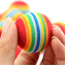 Original 1Pcs Random Color Rainbow Toy Ball Cat Interactive 3.5m Cat Toys Play Chew Rattle Scratch EVA Ball Training Pet Supply