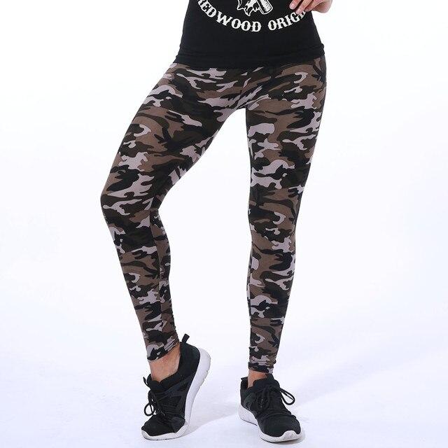 Yoga Pants Elastic Sport Camouflage Leggings 3D Print Thin Fleece Slim Jeggings 2