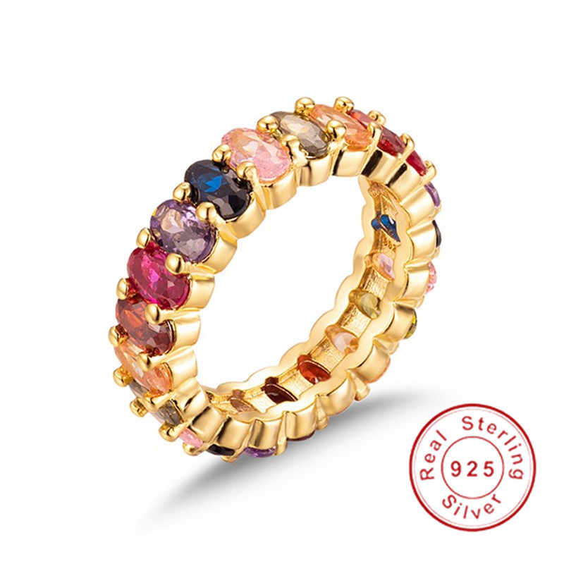 Eternal ตัดไพลินทับทิม PERIDOT KUNZITE TOPAZ PAVE การตั้งค่าอัญมณีนิ้วมือ 925 แหวนแต่งงานหมั้นแหวนเงิน