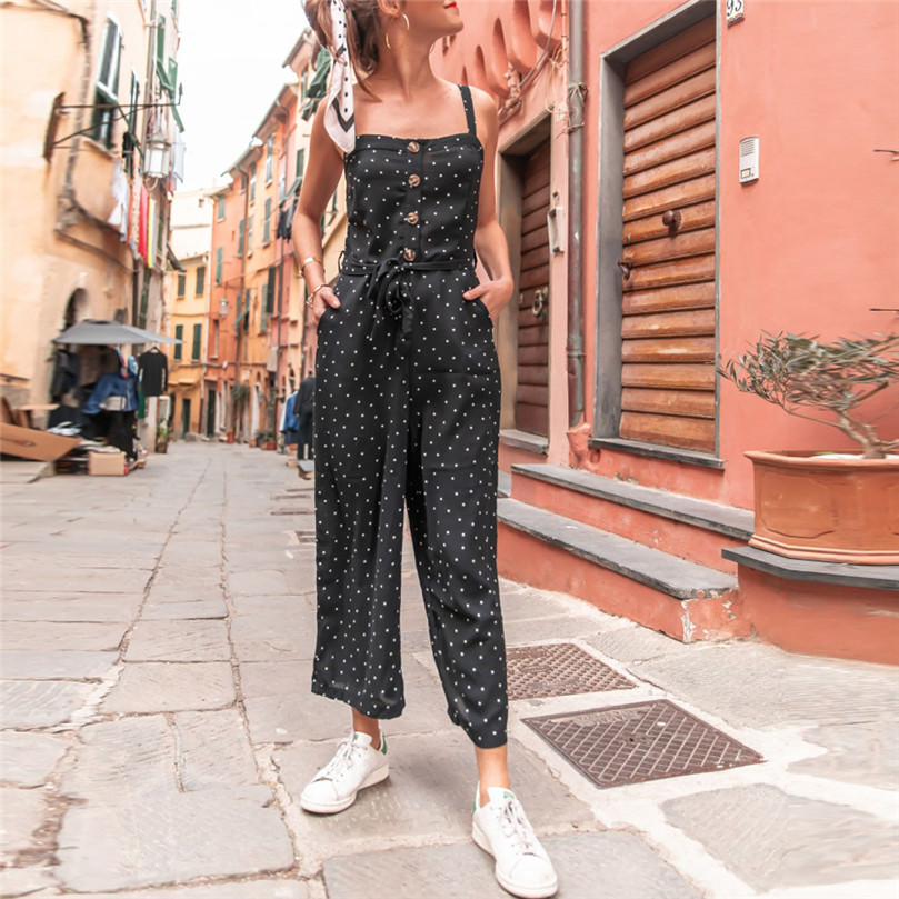 Polka Dot Printed Sexy Spaghetti Strap Womens Jumpsuit Rompers Sleeveless Backless Casual Wide Legs Jumpsuits Overalls 15#