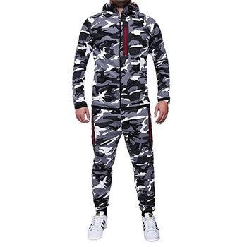 Camouflage Men Fashion Two Pieces Sets Casual Tracksuit Male 2018 Sweatshirt+Pants Suits Men Plus Size 3xl Hoodies Set Green