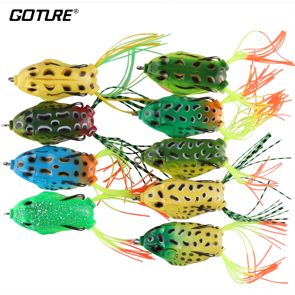 все цены на Goture 9PCS/Lot Soft Fishing Lure Artificial Frog Lure 5.45cm/12.3g Crankbait Topwater Fishing Bait With Sharp Hooks For Fishing онлайн