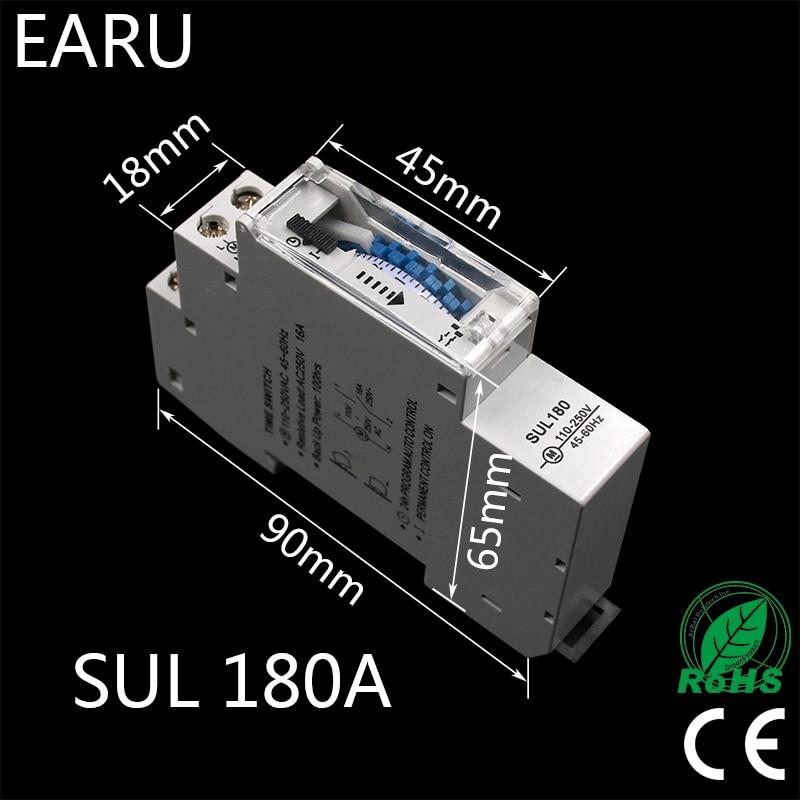 Sul180a 15 Minutos Temporizador Mecanico 24 Horas Programable Din Temporizador Interruptor De Tiempo Rele Instrumentos De Analisis De Medicion Nuevo