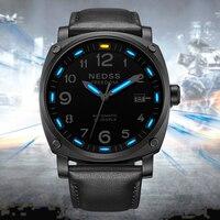luxury brand NEDSS mens Mechanical Wristwatches tritium watch swiss H3 blue self luminous sapphire aviation chronometer watch