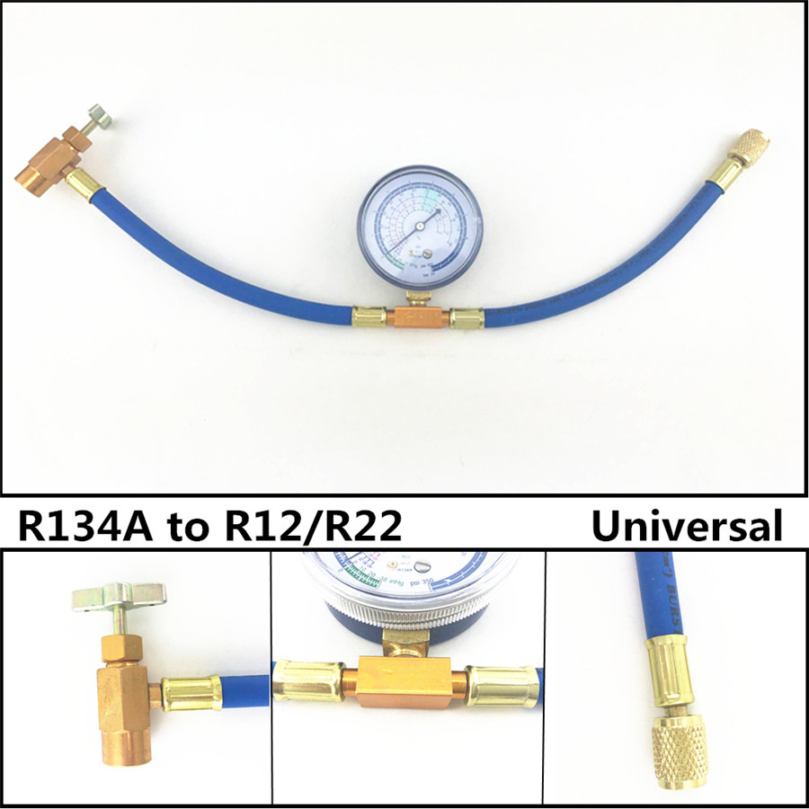 R134A to R12//R22 Car Air Conditioning Refrigerant Charging Hose Pipe With Gauge