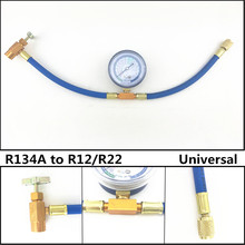 Universal R134A to R12/R22 Car Air Conditioning AC Refrigerant Charging Hose Pipe + Can Gauge Free Shipping