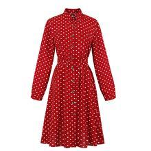 1950s Dress Vintage Polka Dots Print Button Up Shirt Dress Long Sleeve Retro Vintage Swing Dress With Belt 4xl Wine Burgundy vintage style flower print swing dress
