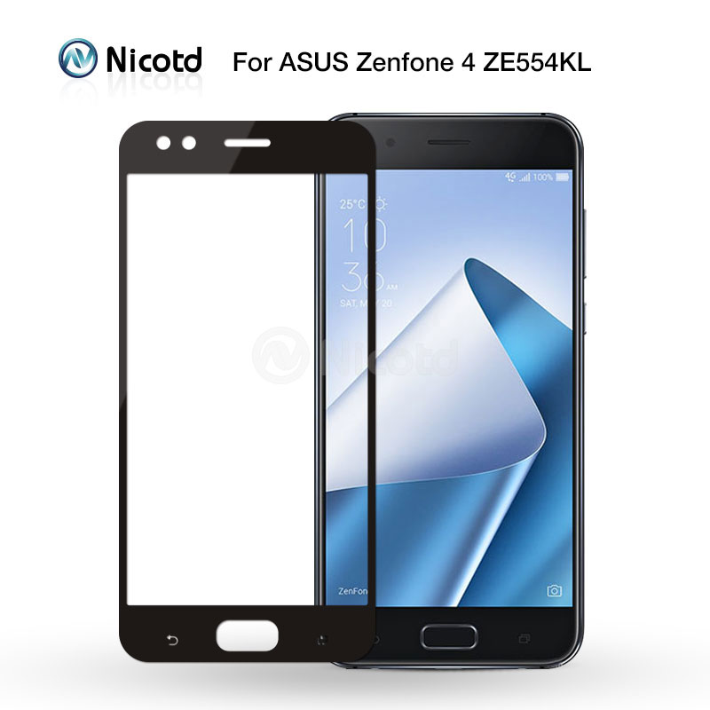 Nicotd Full Cover Tempered Glass For Asus Zenfone 4 ZE554KL 2.5D Full Cover Screen Protector Glass Film For ASUS ZE554KL