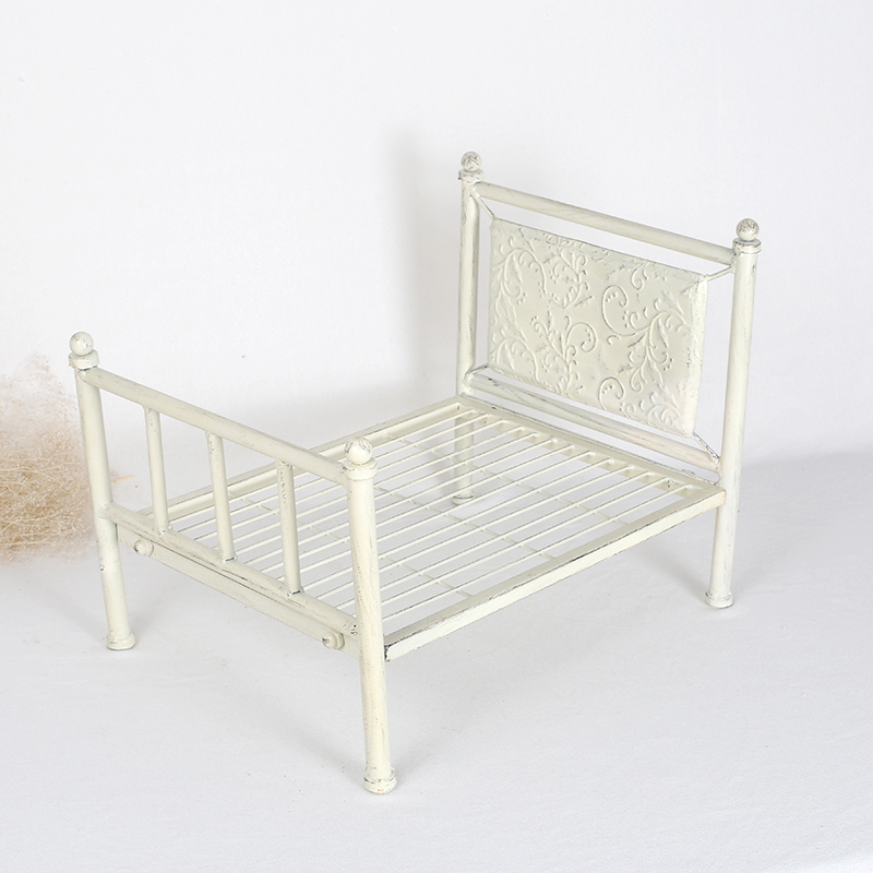 vintage baby bed photography props white antique iron bed neutral newborn photo prop baby shower gift slid metal fabric