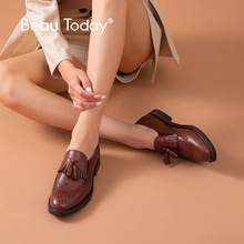 BeauToday Women Loafers Calfskin Genuine Leather Fringe Brogue Style Round Toe Slip-On Spring Autumn Ladies Casual Flats A21047 beautoday monk shoes women buckle straps genuine leather calfkin round toe lady flats handmade brogue style shoes 21408
