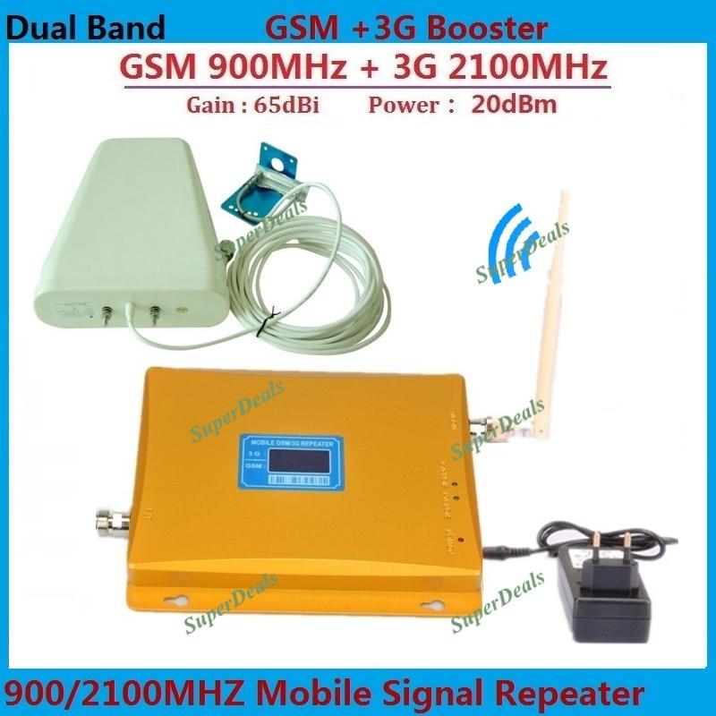 LCD Double Bande GSM 3G Cellulaire Signal Booster GSM 900 mhz 3G UMTS 2100 mhz Mobile Amplificateur WCDMA 2100 Répéteur Extender + Antenne