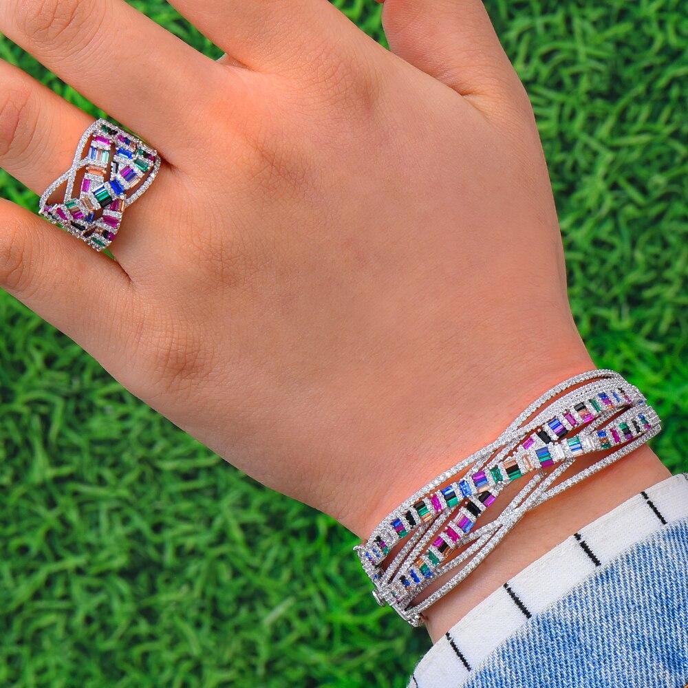 GODKI NIEUWE Luxe 3 pcs EARRING Armband Ring Sets Voor Vrouwen Wedding Cubic Zirkoonkristal Engagement DUBAI Bruids Sieraden Sets 2019-in Bruids Sieraden sets van Sieraden & accessoires op  Groep 2