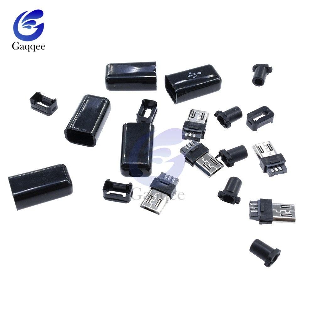 10 unids/set 4 en 1 DIY Micro USB macho conector de soldadura tipo macho 5 Pin conector con cubierta de plástico