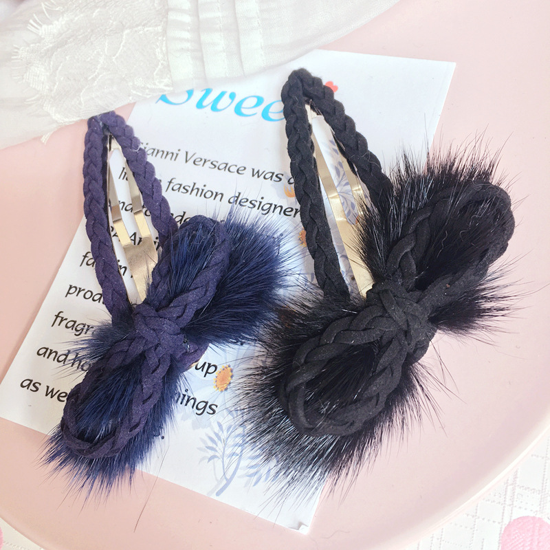 Korea Hair Bows Sable Ball Hair Accessories Weave Rim Hairpin Hair Clips For Women Headbands For Girls -4
