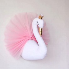 54 45cm Cute 3D Swan Wall Art Hanging Girl Swan Doll Stuffed Toy Animal Head Wall