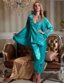 2017 New Full Sleeve Pajama Sets Women Sexy V-Neck Three-Pieces Pijamas Femininos Silk Satin Sleepwear Plus Big Size XXL1533