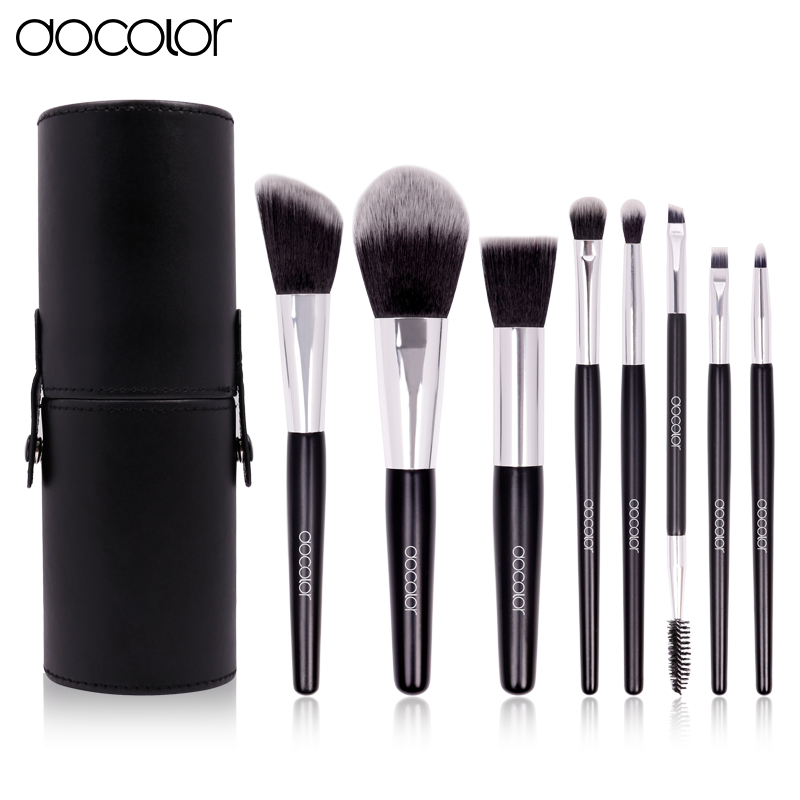 Docolor 8pcs Cosmetics brush Set Travel Makeup Brushes High Quality Synthetic Hair wood Handle With Black