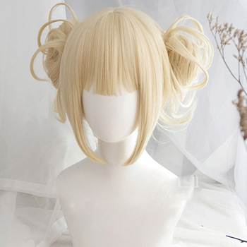 My Boku no Hero Academia Akademia Himiko Toga Wigs Short Light Blonde Clip Buns Heat Resistant Cosplay Costume Wig + Wig Cap