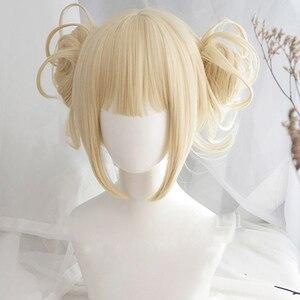 Image 1 - Benim Boku hiçbir kahraman Academia Akademia Himiko Toga peruk kısa ışık sarışın klip çörekler isıya dayanıklı Cosplay kostüm peruk + peruk kap