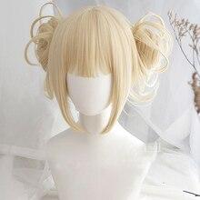 Mein Boku keine Hero Wissenschaft Akademia Himiko Toga Perücken Kurze Licht Blonde Clip Brötchen Hitze Beständig Cosplay Kostüm Perücke + perücke Kappe