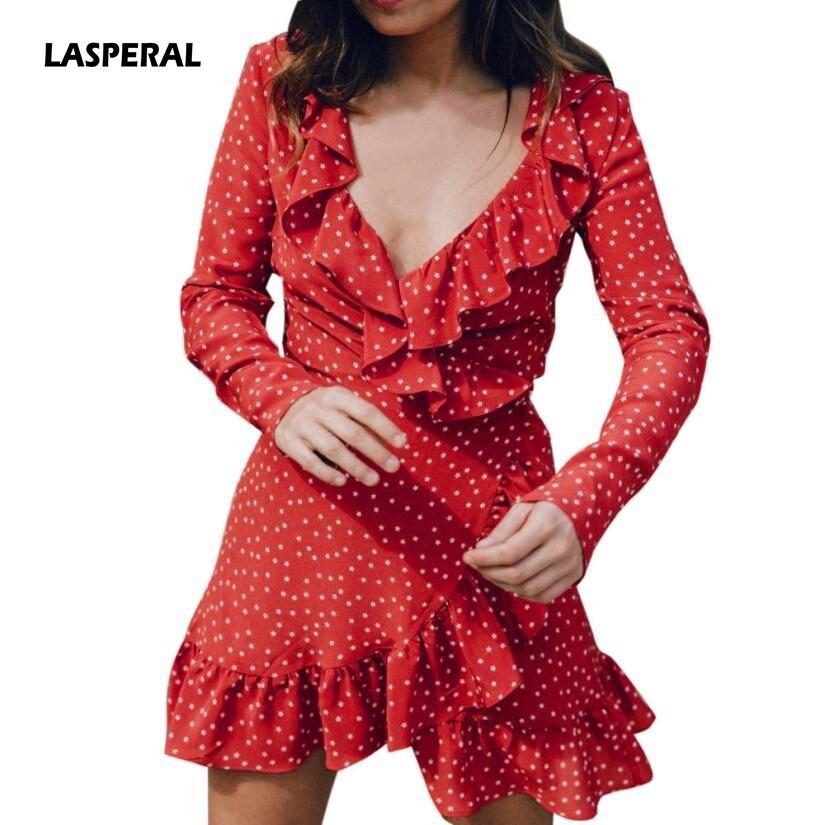 LASPERAL estrella impresión Sexy verano otoño playa Irregular Bow Wrap corto vestido de las mujeres V cuello de manga larga de gasa vestido vestido