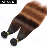 Spark Ombre Brazilian Hair Straight 1 Piece 12 26 1B 4 30 Color Remy Hair Weave