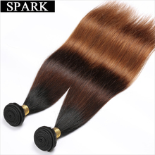 Spark Ombre Brazilian Straight Hair 1PC 3 Color 1B/4/30 Remy Hair Weave Bundles 100% Human Hair Extensions Free Shipping