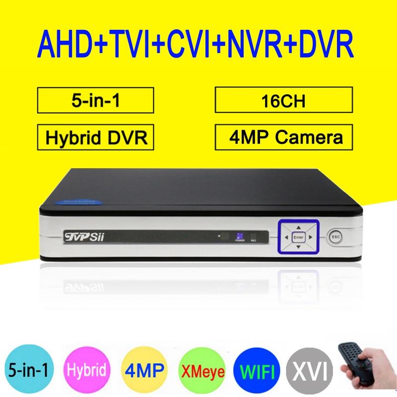 4MP Surveillance Camera Sliver HI3531A Xmeye 16CH 6 in 1 WIFI Hybrid Coaxial ONVIF TVi CVI IP NVR AHD CCTV DVR Free Shipping