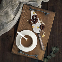 SWEETGO Antlers handle wood tray coffee pallet dessert cake decorating tools Photography props woodcraft Sushi plate mat