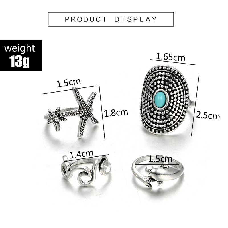 HuaTang Bohemian Antique Silver Ring Geometric Elephant Flower Green Rhinestone Knuckle Rings Midi Finger Anel Rings Jewelry 110