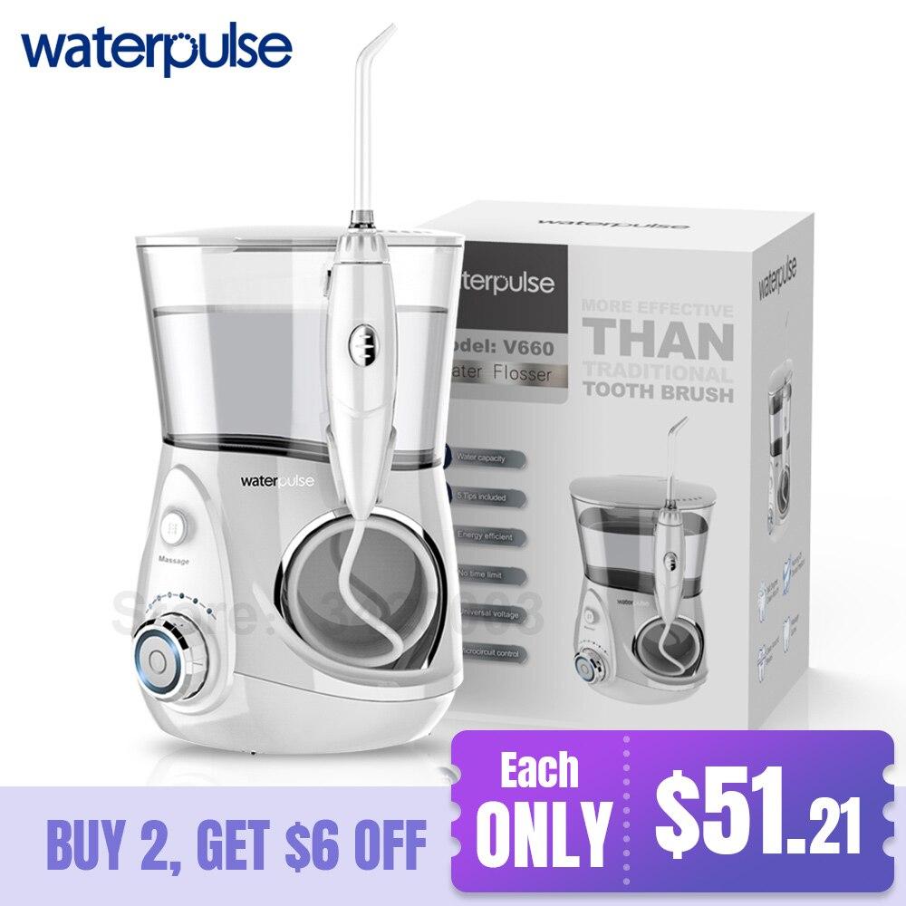 Waterpulse V660 Pro Munddusche 12 Druck Floss und Massage Dental Wasser Elektrische Flosser Irrigator Oral Wasser Zahnseide