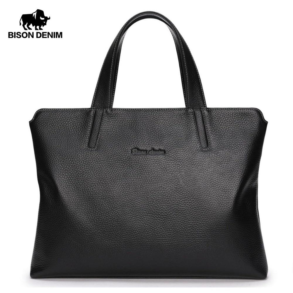 BISON DENIM Genuine Leather Men Bag 14 Laptop Men Messenger Bag Casual Shoulder Crossbody Bags Leather Handbags For Men N2697-3 matek 8 bit ws2812b rgb 5050 highlight led for naze32 cc3d