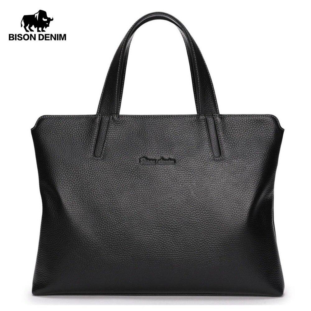 BISON DENIM Genuine Leather Men Bag 14 Laptop Men Messenger Bag Casual Shoulder Crossbody Bags Leather Handbags For Men N2697-3 merry christmas diy pendants removable wall stickers page 7