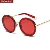 Peekaboo Clear Frame Sunglasses With Red Lenses Female Male Round Oversized Sunglasses Women Brand Designer Uv