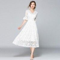 Elegant Evening Party Dresses Women 2019 Summer V Neck Half Flare Sleeve Plus Size Slim White Maxi Dress OL Floral Lace Dress