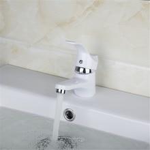 Современный белый простой смеситель Керамический одно отверстие белый Живопись полированная горячей и холодной воды видных смеситель