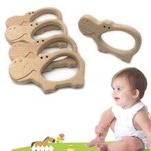 Baby Teether Animal Hippo Shape Teething Nursing Natural Wooden Toy Organic Safe