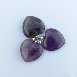 Image 5 - Fashion Good quality Purple crystal 20mm heart Natural stone pendants Charm Jewelry Love pendant for jewelry making 50Pcs/lot