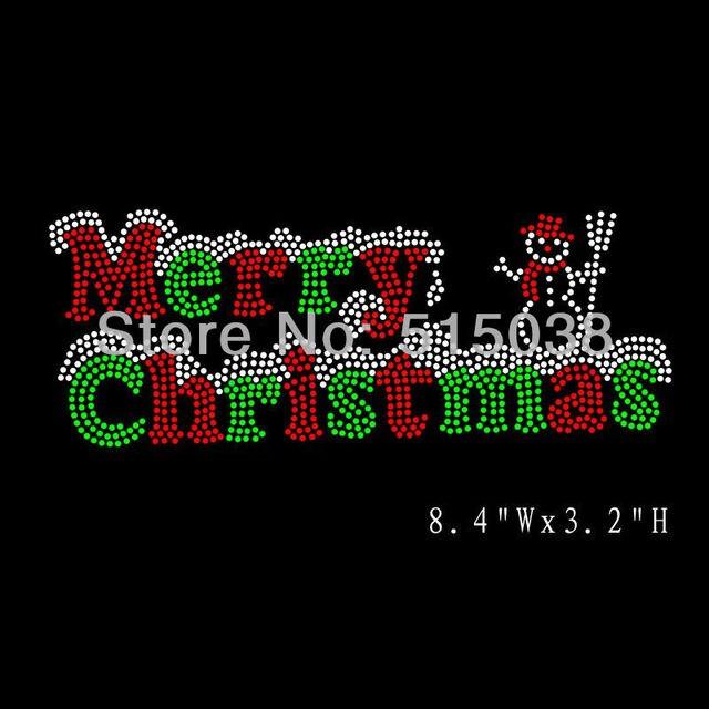 free shipping 40pcslot bling merry christmas iron on rhinestone transfers motif