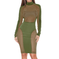 Sexy 2017 New European Style Patchwork Pencil Turtleneck Zippers Hollow Out Dresses Women Long Sleeve Package Hip Club Vestidos