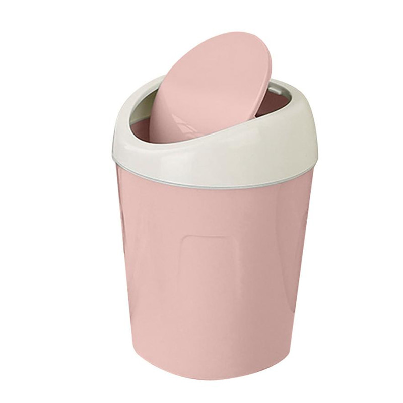 Trumpet Desktops Mini Trash Can Rolling cover desk gabage Bin Can Plastic storage holder Trash bucket with cover drop ship
