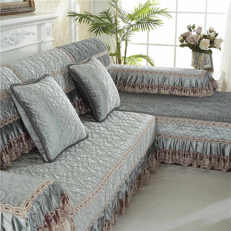 Parkshin Modern Sofa Cover Nordic Euro Living Room Gray Euro Luxury Plaid  Couch Cover Meeting Sofa Case Corner Sofa Seat Covers