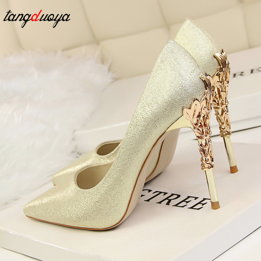 Bridal Shoes Wedding Shoes Woman Gold High Heels Pointed Toe Pumps Women Shoes High Heel Ladies Shoes Zapatos De Novia 2019