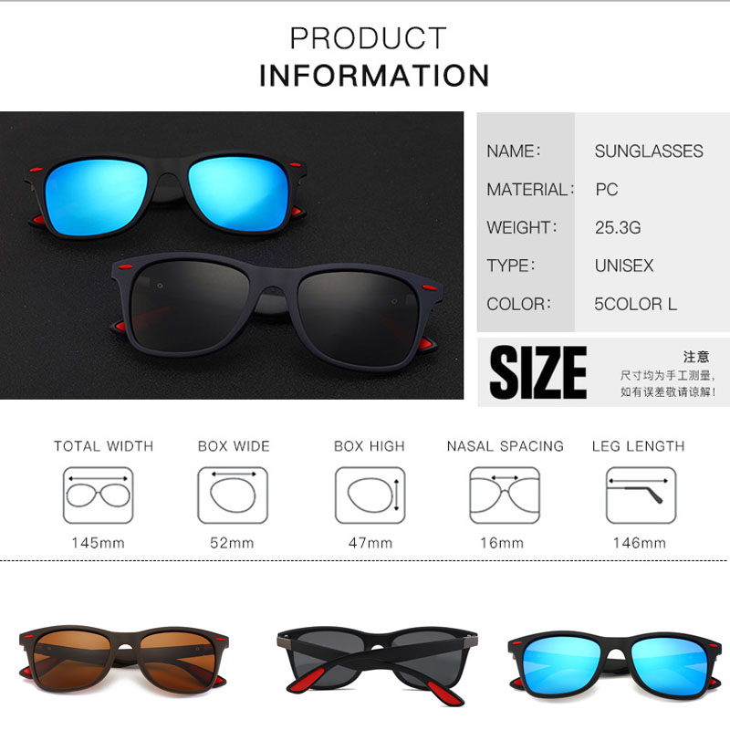 Image 3 - Fashion Brand Designer Polarized Sunglasses Men Women Driving Square Frame Sun Glasses Male Goggle Shades Coating Mirror Female-in Driver Goggles from Automobiles & Motorcycles
