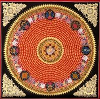 Lama pure hand painted auspicious symbols six words / Mandala /mantra of Guanyin